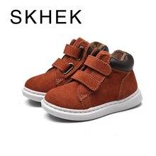 SKHEK Winter Children Boots Boys Leather Shoes Fashion Girl Martin Boots Vintage Warm Plush Kids Boot Blue Black Brown Red цена в Москве и Питере
