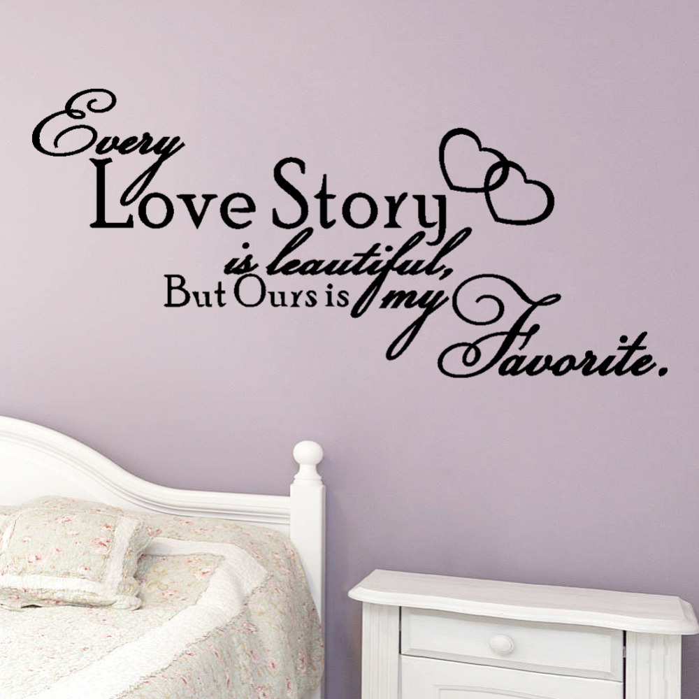 wall decals for bedroom removable decal art mural home kids  - love story is beautiful home quote wall decals bedroom removable vinyl wallstickers art words