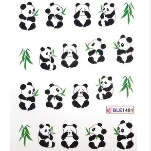 Best Selling!!Panda Water Transfer Decals Cartoon Nail Art Stickers10 sheets/lot+Free Shipping