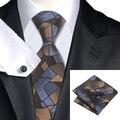 Laço dos homens de moda de seda Jacquard marrom Slateblue novidade gravata Hanky punho Set Wedding Party negócios laços para homens C-980