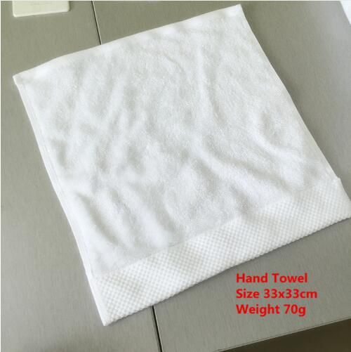 50pcs/lot Customize Logo White Hand Towel 100% Cotton Size