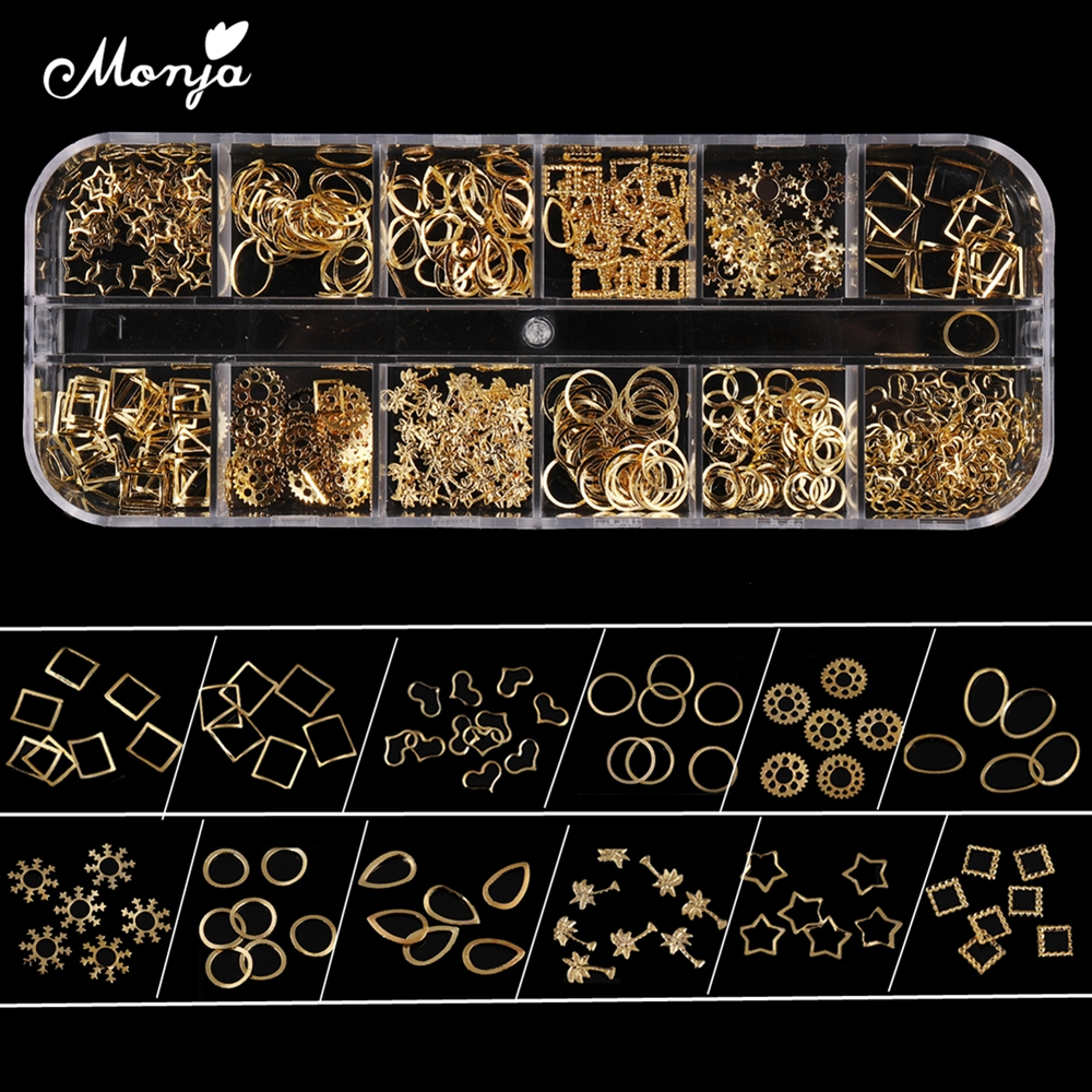 Monja 12 Grid Mixed Style Nail Art Star Heart Snowflake Oval Gold Metal Rivet Studs 3D DIY Charm Decoration Accessories monja 48 jar mix style nail art rhinestones beads glitter powder sequins flakes stickers 3d design decoration