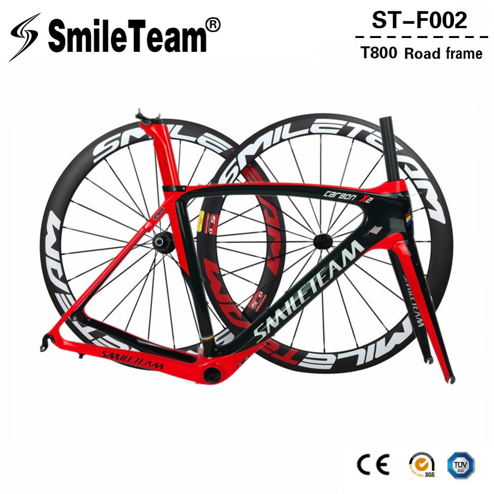 купить Smileteam 2018 New Full Carbon Fiber Road Bike Frame 700C Racing Bicycle Carbon Frameset With Wheelset Headset BB386 UD Glossy недорого