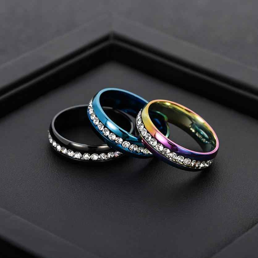 High Quality Stainless Steel Rings For Men And Women Fashion Couple Ring Jewelry Accessories Rhinestone Ring Shiny Jewelries
