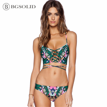 2019 new women's split bikini swimsuit bamboo leaf front and back wear swimsuit недорого