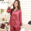 Хорошее качество атласная пижама вышивка цветочный мягкой дышащей combinaison пижама устанавливает кружева v-образным вырезом пижамы две части большой размер