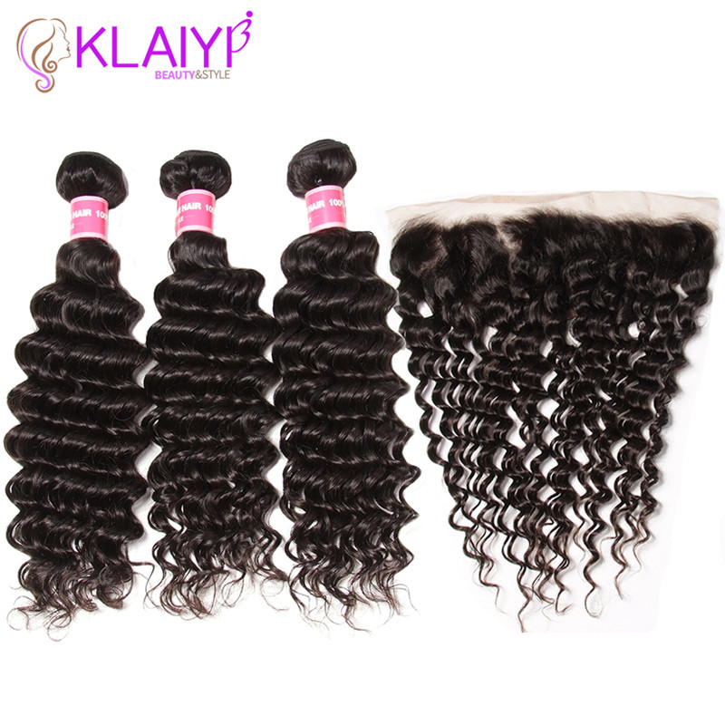 Klaiyi Hair Brazilian Deep Wave Bundles With Frontal Remy Human Hair Weave With Closure 13X4 Frontal With Bundles