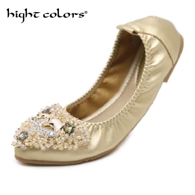 New Women Crystal Ballet Flat Folding Shoe 2018 Casual Rhinestone Soft Driving Flat Dancing Egg Rolls Boat Shoes Women Loafer 43