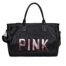 Pink Handbags Large Capacity Travel Bags Crossbody Waterproof Beach Shoulder Bag Totes Sequin PINK Letters Luggage Duffle