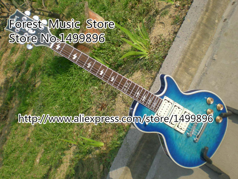 Custom Shop Ace Frehley LP Electric Guitar Vintage Blue Quilted Guitarra with Lightning Blot Inlay In Stock