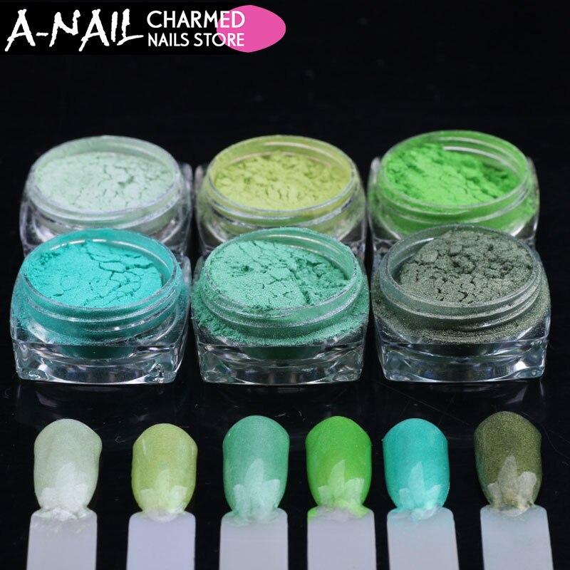 12 tarros/set azul verde colores retro gradiente Brillos de uñas ...