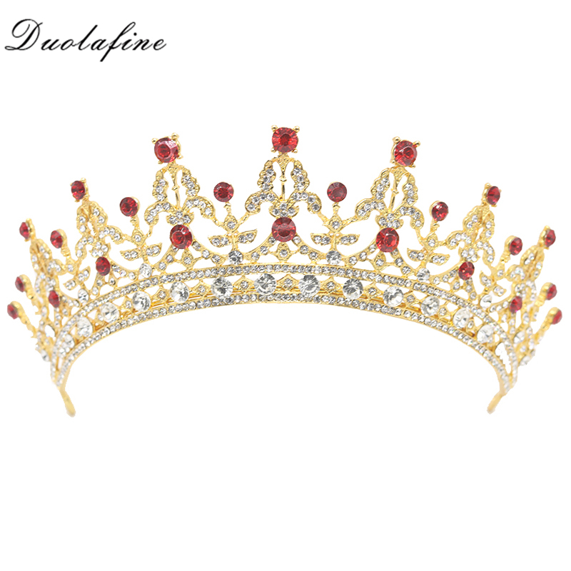 Trendy Gold Tiaras Red Crystal Bridal Crown tiara For Wedding Hair Accessories Rhinestones Headpiece Bride Hair Jewelry HG003