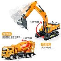 Children's engineering car toy 1:32 set large boy excavator crane road roller excavator mixer truck 808