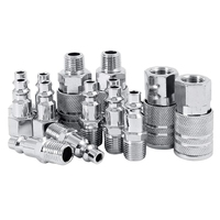 14Pcs Air Lijn Slang Compressor Montage 1/4 Inch Bsp Metalen Connectors Coupler Man Vrouw Quick Release Set