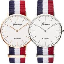 Octbyna Новая мода Для мужчин Для женщин унисекс Женева Platimum нейлоновая ткань Watch Sport тонком запястье холст Кварц Простой часы для любителей