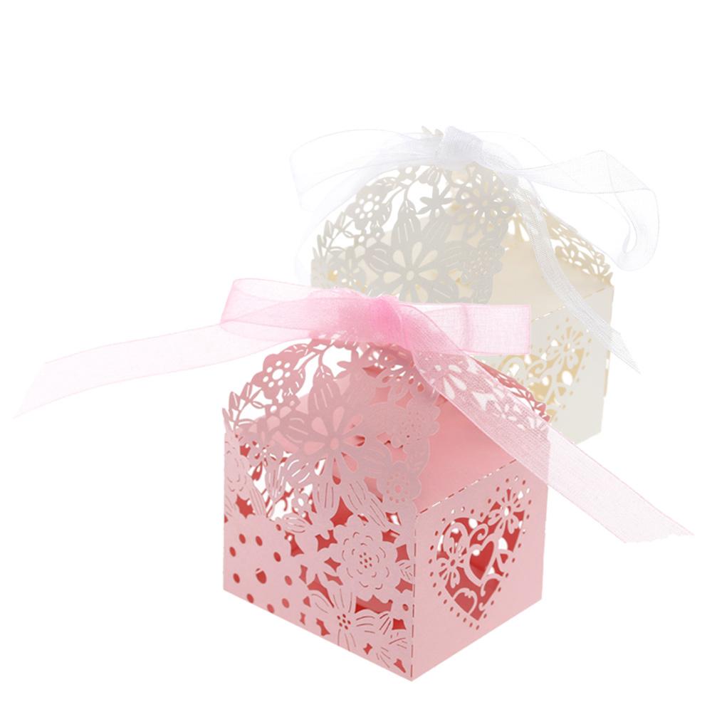 20pcs/set Carved Flower Pattern Wedding Candy Box Romantic Party Box ...