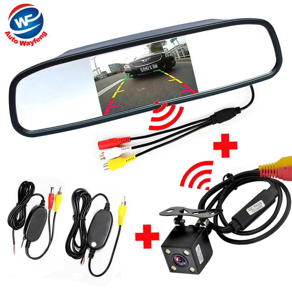 Wireless Car Rear View Camera with mirror Monitor System kit Assistance 2.4Ghz Wireless Camera system kit hot sale