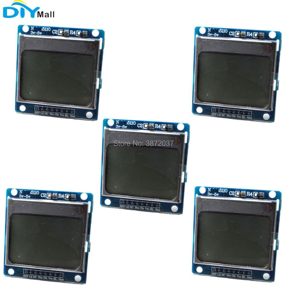 5pcs/lot 5110 LCD Module Display Screen 45*45 PCB with Blue Backlight for Arduino 1.6 Nokia 5110