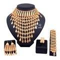 Дубай Мода Позолоченные Африканские Бусы Комплект Ювелирных Изделий для Женщин Кистями Ожерелье Серьги устанавливает Свадебные Комплекты Ювелирных Изделий