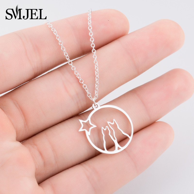 SMJEL Cute Animal Cat Necklace for Women Stainless Steel Charm Pet Cat Jewelry Collares Girl Gifts Women Clothing Accessories