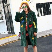 YNZZU Europe New Winter Women Rex Rabbit Fur Coats Fashion Green Letter Embroidery Loose Jackets Thick Warm Female Padded YO152