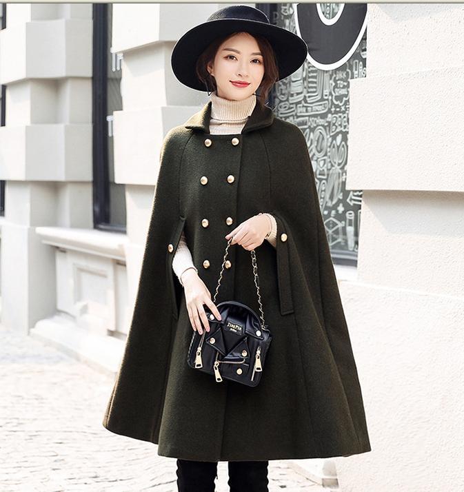 Новинка, модное шерстяное пальто, плащ для женщин, зимняя рабочая одежда для офиса, женское двубортное пальто, накидка - Цвет: army green