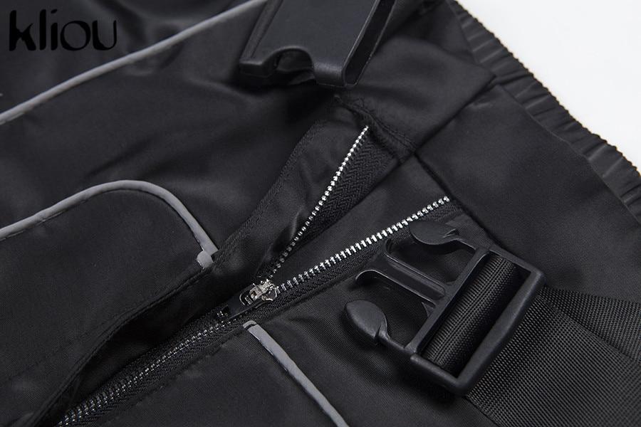 HTB1ylEZacnrK1RjSspkq6yuvXXa0 - Kliou women fashion street Reflective patchwork cargo pants 2019 new arrival zipper fly with sashes pockets knitted trousers