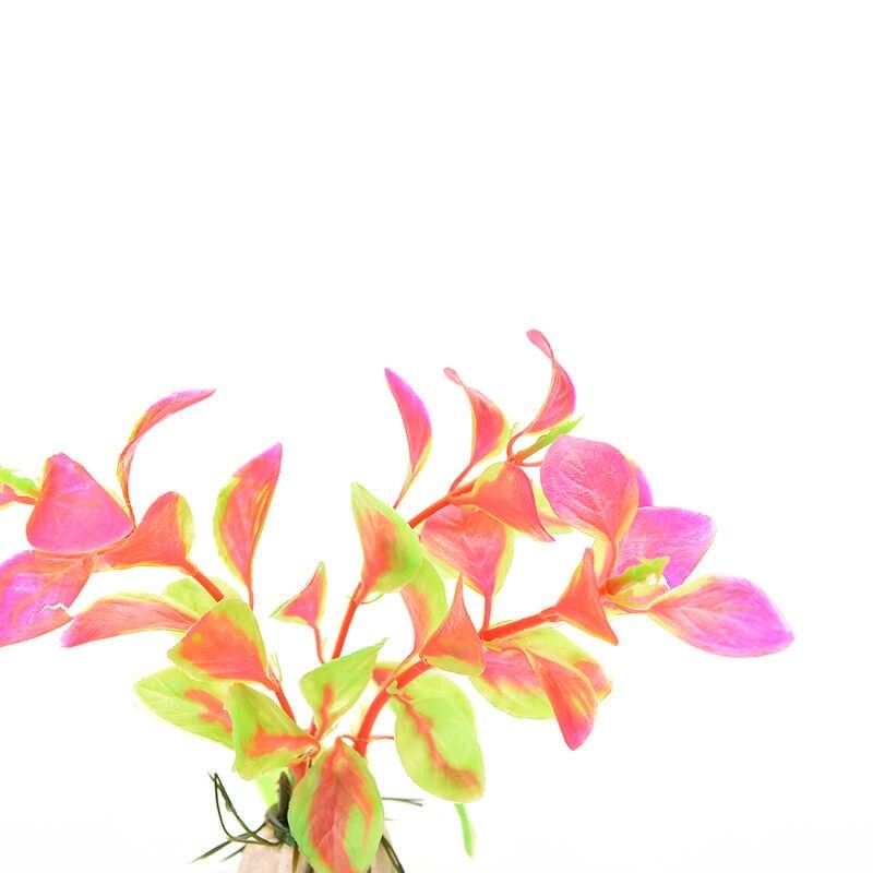 1 قطعة الزينة البلاستيكية الحوض متعدد الألوان النباتات الاصطناعية حوض للأسماك العشب زهرة زخرفة ديكور المشهد