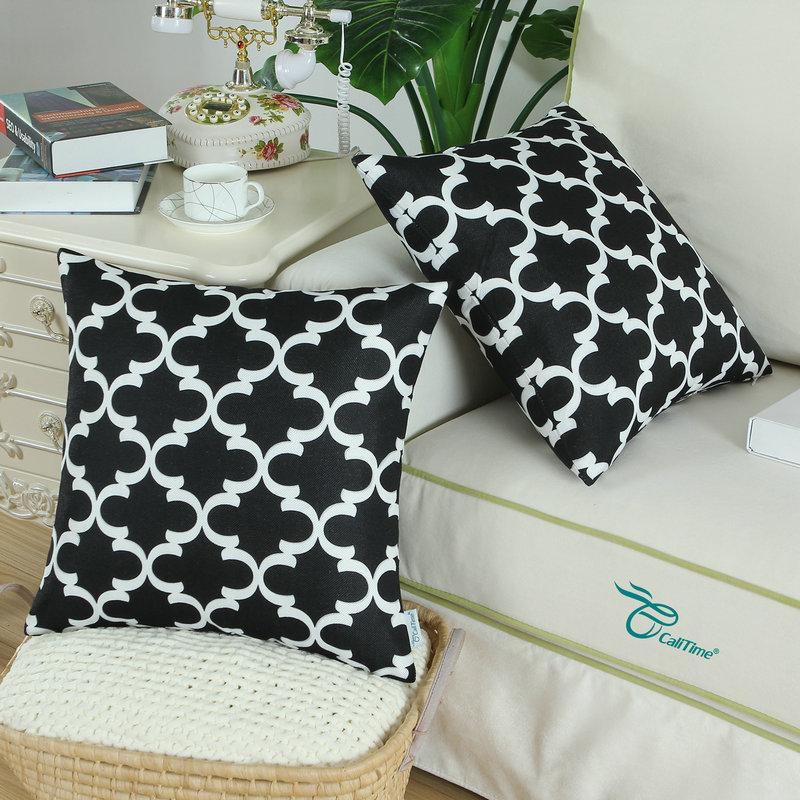 2PCS Square CaliTime Black Cushion Cover Pillows Shell Quatrefoil Accent Geometric Home Sofa Decor 18 X 18(45cm X 45cm)