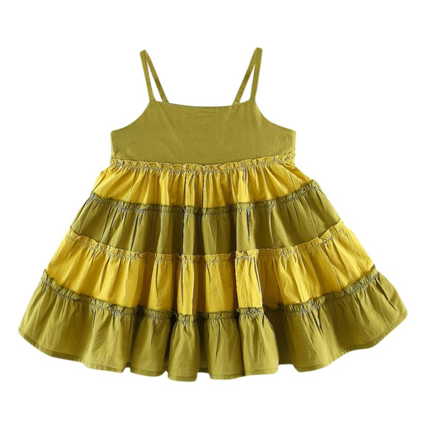 2018 dress baby girls summer Cotton casual Fashion Sleeveless Patchwork Braces Dress Outfits Clothes 4.23