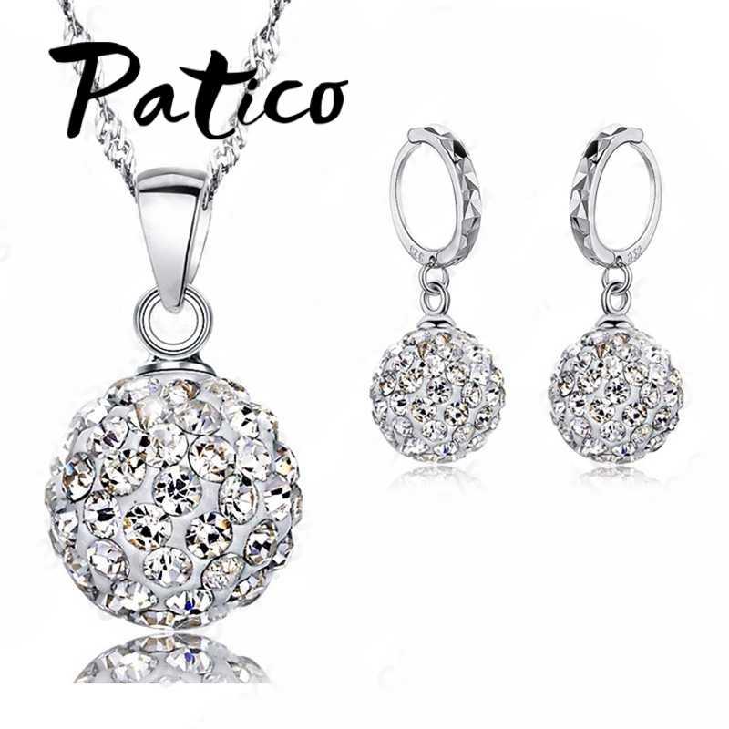 925 Sterling Silber Halskette Ohrringe Set Hochzeit Bunte Multi Stil Kristall Stein Hochzeit Geburtstag Beste Geschenk Für Frauen