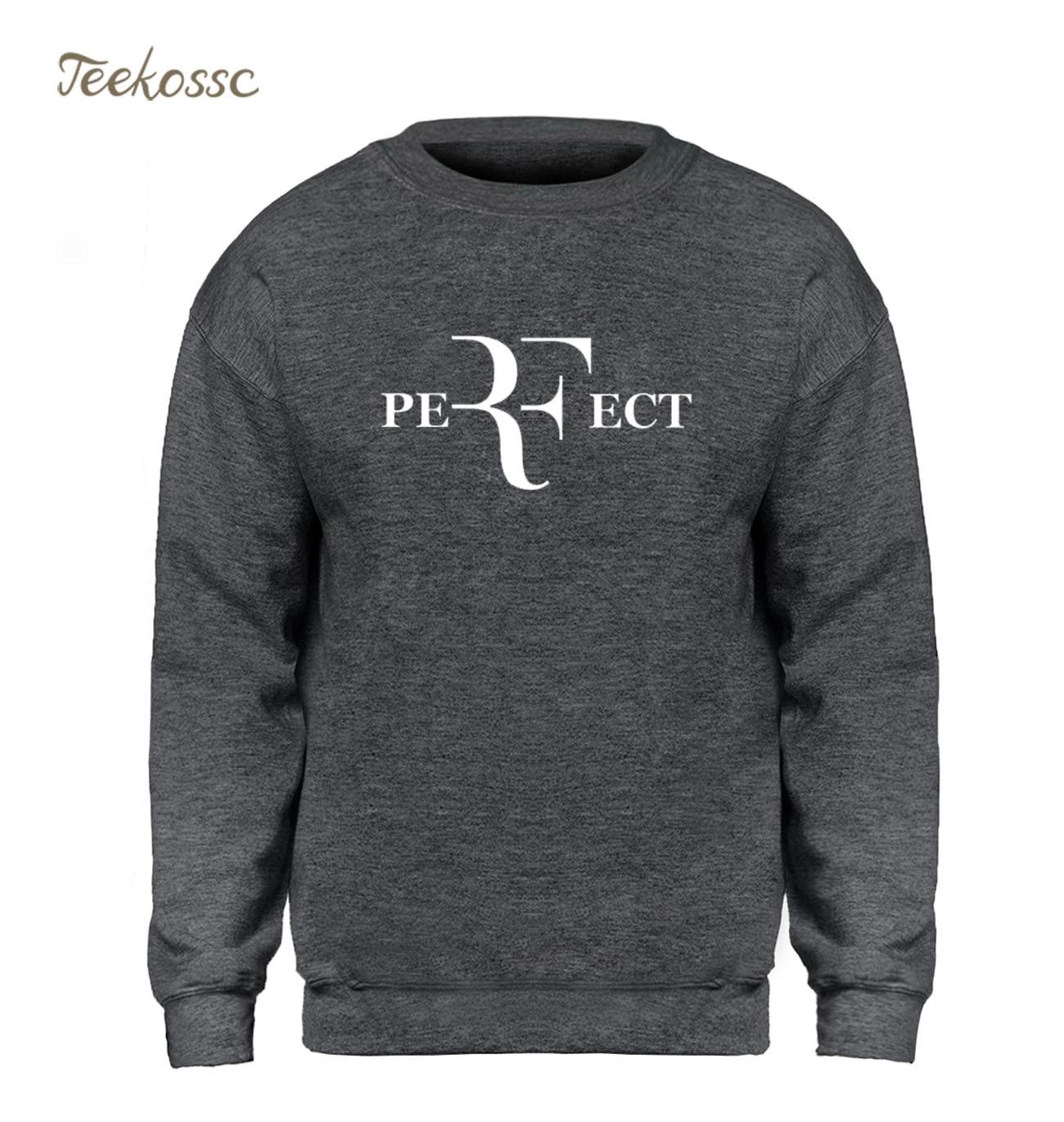 Roger Federer Tennis Hoodie Men RF Perfect Letters Sweatshirt Balck Gray Sweatshirts 2018 Winter Autumn Fleece Warm Streetwear