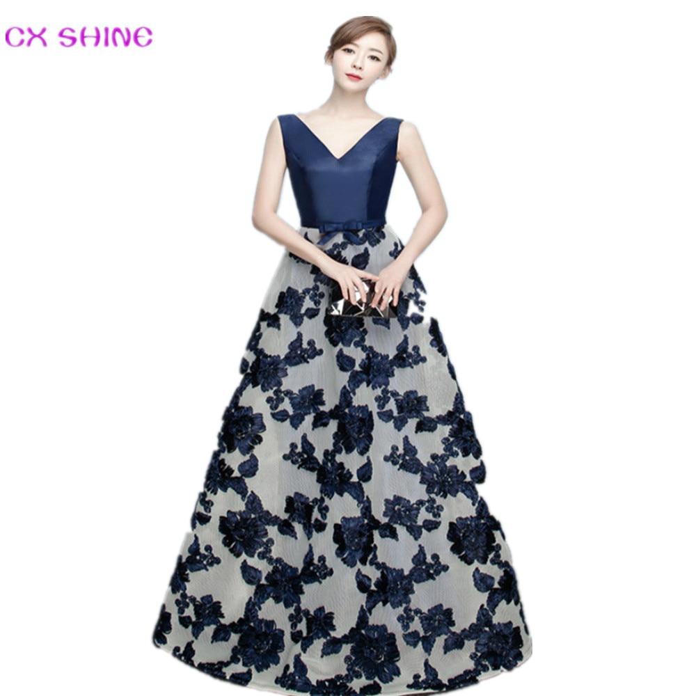 CX SHINE Νέο V NECK Ναυτικό μπλε λεκές λουλούδια δαντέλα φτερά μακρά βραδινά φορέματα robe de soiree μακρύ φόρεμα κόμμα Prom Vestidos