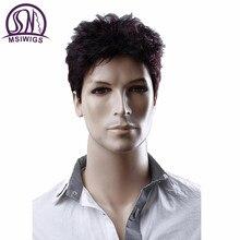 MSIWIGS 6 Inç Kısa Düz Peruk Erkekler için Şarap Kırmızı Peruk Doğal Erkekler Peruk Saç Sentetik Elyaf Isıya Dayanıklı