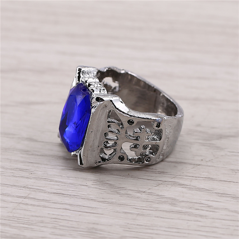 J Store Free Shipping Black Butler Ciel Phantomhive Blue Precious Stone Finger Size 8 Alloy Rings for Men Women Jewelry JJ11686