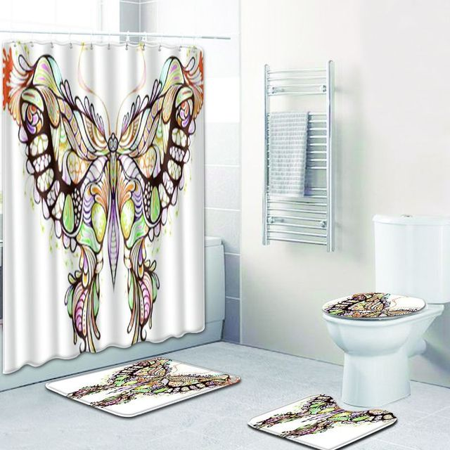 Waterproof 4 Pieces 3D Butterfly Printed Polyester Bath Shower