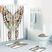 Waterproof 4 pieces 3D butterfly Printed Polyester Bath Shower Curtain Sets Bathroom Carpet Accessories curtain and bath mat