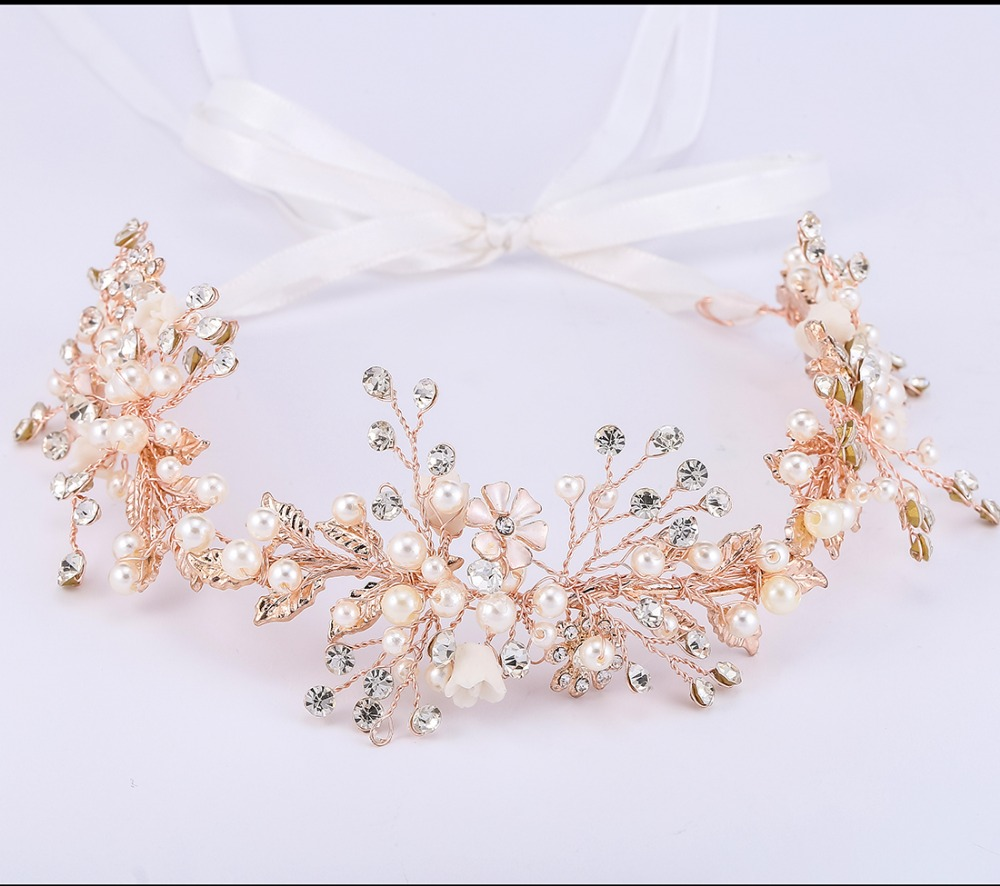 Conscientious 2015 New Arrival Luxury Handmade Clay Flowers Pearl Bridal Tiara Wedding Hair Accessories Women Headpiece Wholesale Jewelry & Accessories