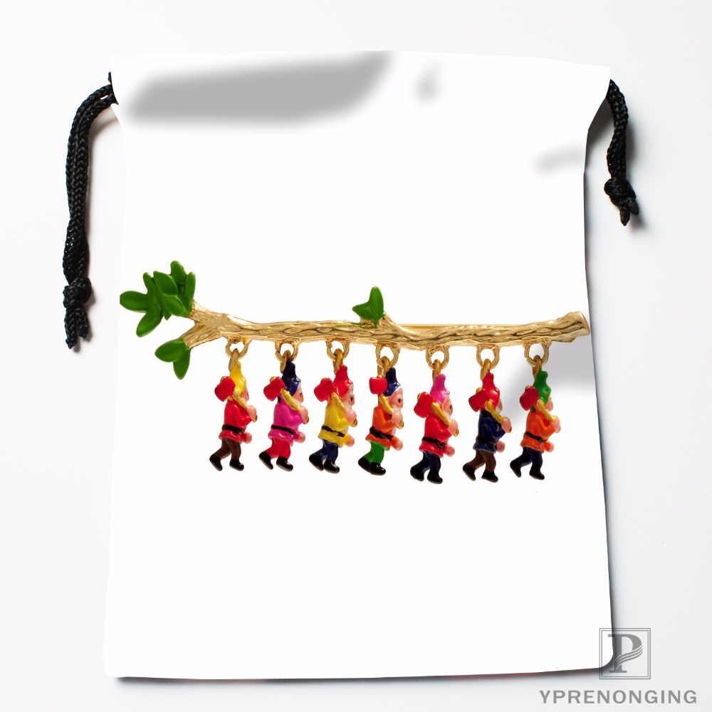 Custom Snow White Seven Dwarfs Drawstring Bags Travel Storage Mini Pouch Swim Hiking Toy Bag Size 18x22cm#0412-03-01