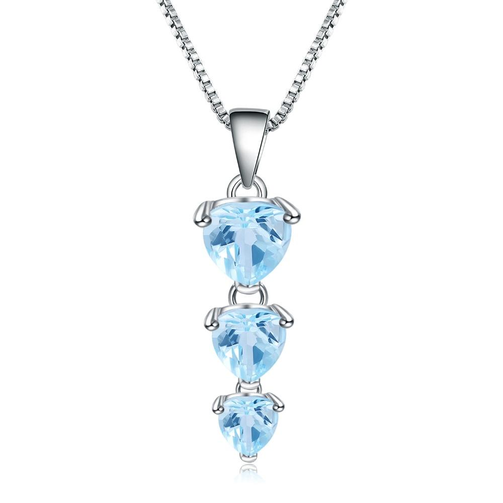 GEM'S BALLET 100% 925 Sterling Silver Gemstone Pendant Necklace 3.09Ct Natural Blue Topaz For Women Wedding Engagement Jewelry