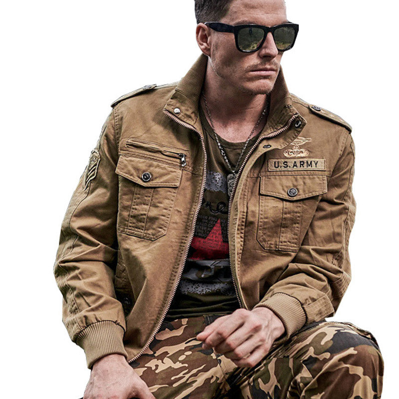 Military Pilot Jackets New 2018 Men's Winter Autumn Bomber Cotton Coat Tactical Army Jacket Male Casual Air Force Flight Jacket-in Jackets from Men's Clothing    1