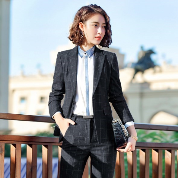 Womens Business Two Piece Skirt or Pant Sets Black Jacket and Skirt Set Women Elegant Plaid Uniform Work Skirt or Pant Suits