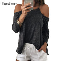 Heyouthoney 100 Cotton Sexy Cross Halter Backless T Shirt Women Off The Should Tops Tee Autumn