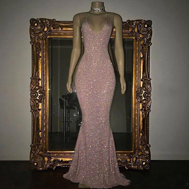 <font><b>2018</b></font> Stunning Bling Bling Rose Pink Sequined Prom <font><b>Dresses</b></font> Mermaid <font><b>Sexy</b></font> Spaghetti Straps Backless Formal Wear <font><b>Evening</b></font> Gowns image