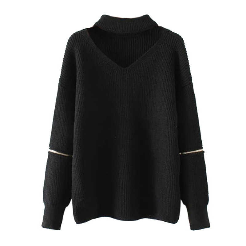 Winter Spring Women Halter Sweaters Pullovers Casual Loose Knitted Sweater Women Tricot Pullover Jumpers Oversized Mujer Sweater