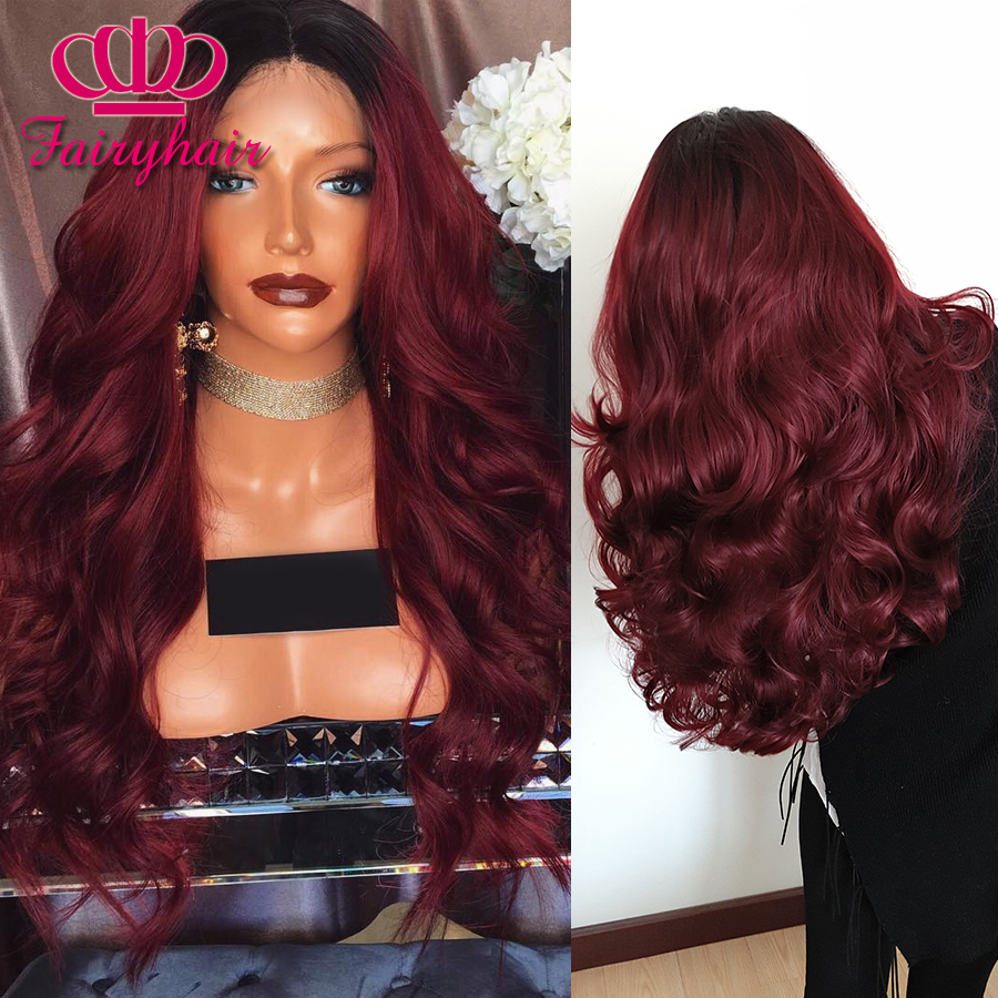 High Quality Ombre lace front wig burgundy ombre glueless body wave heat resistant synthetic lace front
