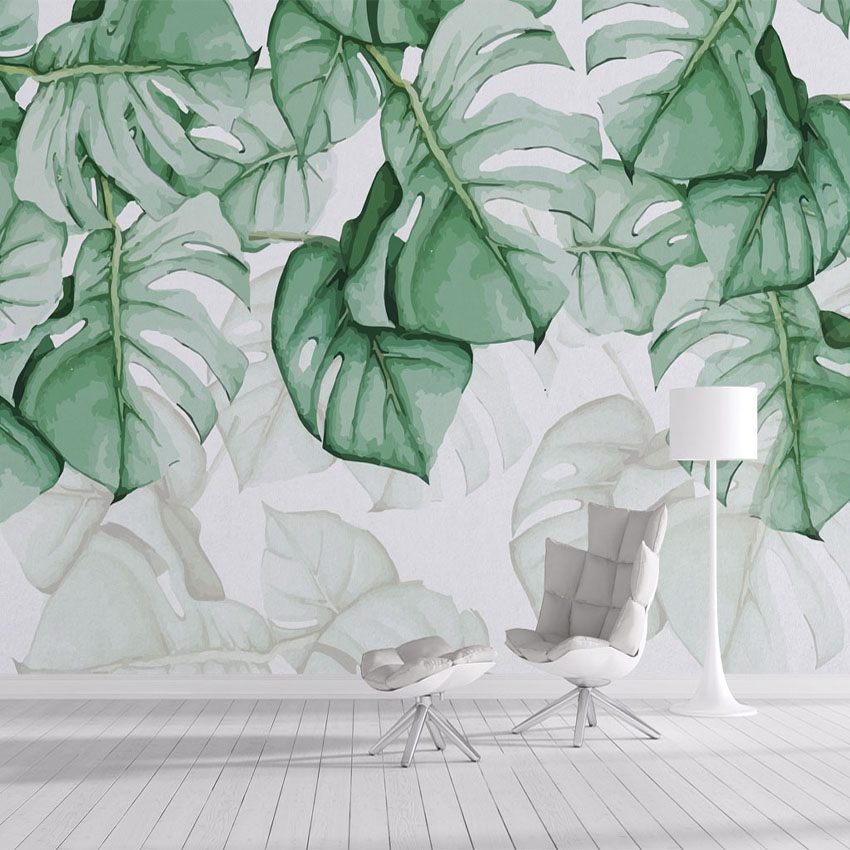 Custom Photo Wallpaper 3D Hand Painted Canvas Oil Painting Tropical Plants Green Leaf Living Room Bedroom Home Decor Wall Mural школьные рюкзаки thorka школьный рюкзак mc neill единорог