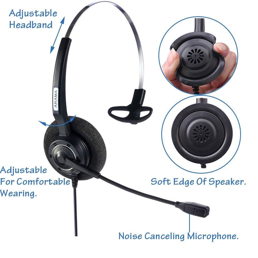Wantek Arama Cordless Phone Headphones,2.5MM Telephone Headset with Noise Cancelling Boom Mic for Panasonic Dect Phones-Binaural 3
