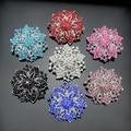 Bluelans Design Cluster Rhinestones Round Blossom Flower Crystal Silver Plated Bro