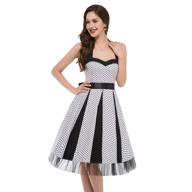 New 2017 Cheap Womens Vintage Pinup Rockabilly Polka Dot Casual Work Short Robe Cocktail Dresses Wiggle Party Dress 6090